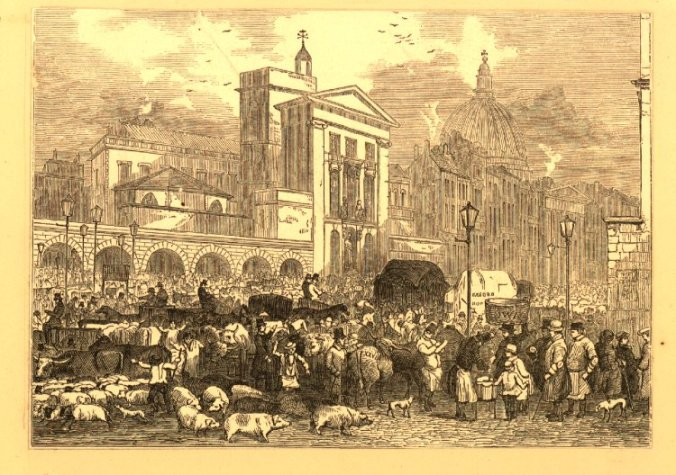 cattle+market+on+the+south+side+of+Smithfield;+men+herd+pigs+and+sheep